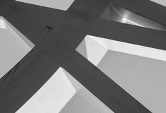 Strong steel beams welded together at sharp angles Royalty Free Stock Photos