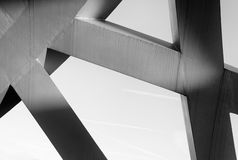 Strong steel beams welded together at sharp angles Stock Images