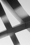 Strong steel beams welded together at sharp angles Stock Photos