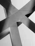 Strong steel beams welded together at sharp angles Stock Image