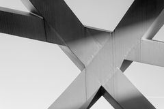 Strong steel beams welded together at sharp angles Royalty Free Stock Photography