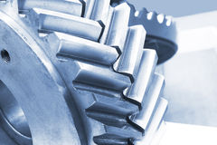 Strong steel gear close-up Royalty Free Stock Photos