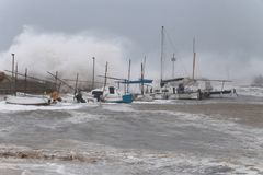 Strong storm and waves in El Arenal wide Royalty Free Stock Photos
