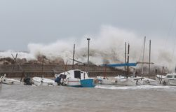 Strong storm and waves in El Arenal Stock Photos