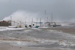 Strong storm and waves in El Arenal Stock Image