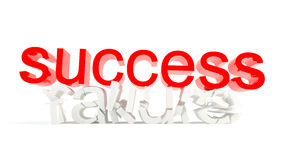 Strong success. Red success text crashing white failure text Royalty Free Stock Photos