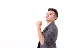 Strong, successful winner man looking up. On white isolated background Royalty Free Stock Images