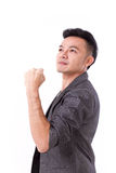 Strong, successful winner man looking up. On white isolated background Stock Images