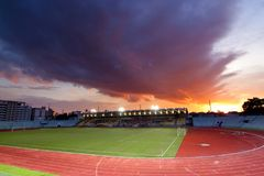 Strong sunset in Chula Stadium. Chula Stadium is Home of CHULA UNITED football club Royalty Free Stock Photography