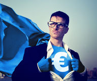 Strong Superhero Businessman Currency Sign Concepts.  Royalty Free Stock Photography