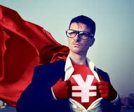 Strong Superhero Businessman Currency Sign Concepts.  Stock Photo