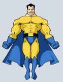 Strong superhero. Illustration of a strong muscular build superhero Stock Photos