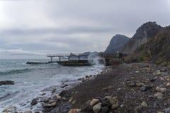 Strong surf on an empty beach. Crimea Royalty Free Stock Photos