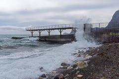 Strong surf on an empty beach. Crimea Stock Photo