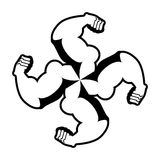 Strong swastika. Logo for aggressive fighters. Hands bodybuilde Stock Photography