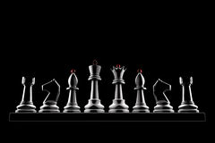 Strong team. Chess pieces on a black background (3d image of a graphic style Stock Photography