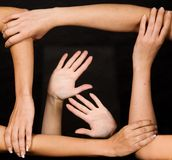 Strong team of hands Stock Images