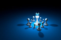 Strong team. Leader chess metaphor. 3D render illustration. Fr. Great authority. Leader. Chess composition. Available in high-resolution and several sizes to fit royalty free illustration
