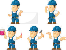 Strong Technician Mascot 4. A vector set of a male technician or repairman in several poses. Drawn in cartoon style, this vector is very good for design that Royalty Free Stock Images