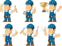 Strong Technician Mascot 3. A vector set of a male technician or repairman in several poses. Drawn in cartoon style, this vector is very good for design that Stock Photo
