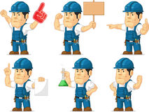 Strong Technician Mascot 7. A vector set of a male technician or repairman in several poses. Drawn in cartoon style, this vector is very good for design that Royalty Free Stock Photos