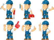 Strong Technician Mascot 6. A vector set of a male technician or repairman in several poses. Drawn in cartoon style, this vector is very good for design that Stock Photo