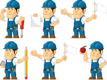 Strong Technician Mascot 8. A vector set of a male technician or repairman in several poses. Drawn in cartoon style, this vector is very good for design that Stock Photography