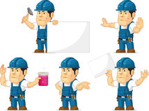 Strong Technician Mascot 5. A vector set of a male technician or repairman in several poses. Drawn in cartoon style, this vector is very good for design that Stock Images
