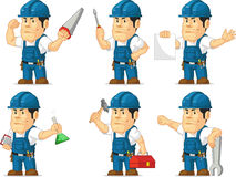 Strong Technician Mascot 2. A vector set of a male technician or repairman in several poses. Drawn in cartoon style, this vector is very good for design that Stock Photo