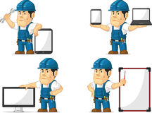 Strong Technician Mascot 12. A vector set of a male technician or repairman in several poses. Drawn in cartoon style, this vector is very good for design that Royalty Free Stock Images