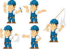 Strong Technician Mascot 9. A vector set of a male technician or repairman in several poses. Drawn in cartoon style, this vector is very good for design that Royalty Free Stock Photo