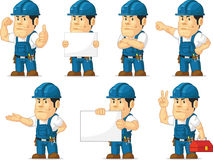 Strong Technician Mascot 11. A vector set of a male technician or repairman in several poses. Drawn in cartoon style, this vector is very good for design that Royalty Free Stock Photography