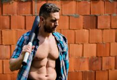 Strong temper. Principle concept. Confident his strength. Bully guy carry cudgel brick wall background. Power and. Strength. Feel my strength. Man unshaven face stock images