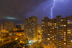 Strong thunderstorm over the residential district New Trehgorka Stock Photo
