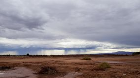 A strong thunderstorm strikes the arid lands of the Atacama Desert in northern Chile stock photography