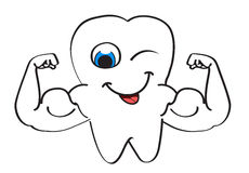 Strong tooth. Character with winking eye Royalty Free Stock Images