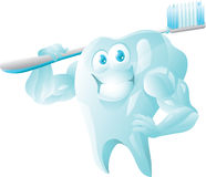 Strong tooth with toothbrush Stock Photos