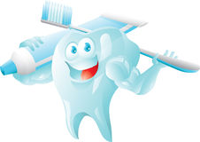 Strong tooth with toothbrush and toothpaste Stock Photography
