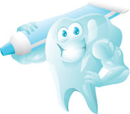 Strong tooth with toothpaste Royalty Free Stock Image