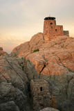Strong tower. Stone tower perched on top of a mountain stock images