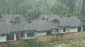Strong tropical downpour in Thailand stock footage video stock video footage