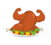 Strong turkey on plate with garnish. Powerful fowl Baked on dish Stock Photography