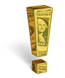 Strong U.S. Dollar. A gold exclamation mark with images of U.S. dollar bills reflecting off it's surface. Isolated on white with shadow. Includes clipping path Royalty Free Stock Photos