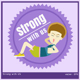 Strong with us. Vector illustration boy is exercise by sit up Stock Illustration
