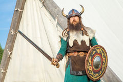 Strong viking is defending near his territory Stock Photography