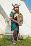 Strong viking is defending near his territory Stock Images