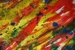 Strong vivid energetic colorful golden spots texture paint watercolor spots Royalty Free Stock Photo