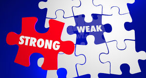 Strong Vs Weak Strength Overcomes Weakness Puzzle. 3d Illustration Royalty Free Stock Photo