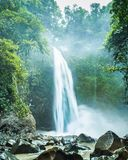 Waterfall hidden in dense rainforest. Strong water smashes onto the rocks below creating a impressive mist that covers the entire basin stock photo