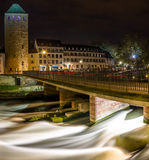 Strong water stream in Petite France quarter, Strasbourg. France Royalty Free Stock Images